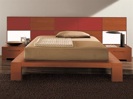 YumanMod Wynd Cherry / Red Platform Bed with Lights