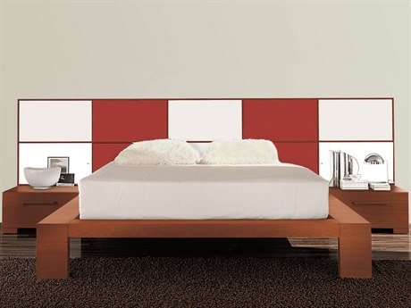 YumanMod Wynd Cherry / Red White Platform Bed with Lights