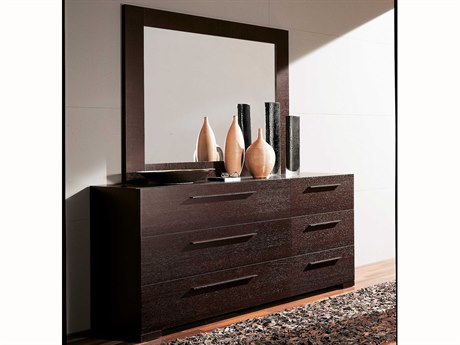 YumanMod Yoko Wenge 6 Drawers Double Dresser with Mirror