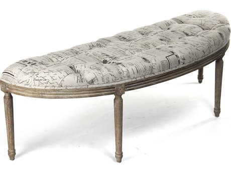 Zentique Natural Linen / Limed Grey Oak Accent Bench