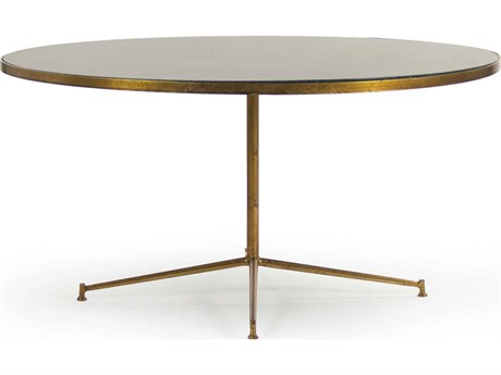 Zentique Deep Green Marble / Gold Leaf 39'' Wide Round Coffee Table ZENLISH1513133