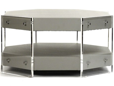 Zentique Gunsmoke / Gray Green 36'' Wide Octagon Coffee Table ZENZF004