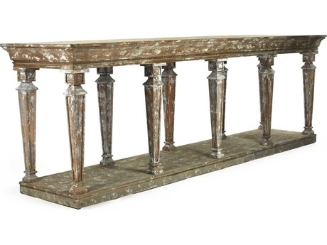 Zentique Distressed Umber Brown 99'' Wide Rectangular Console Table