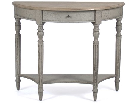Zentique Reclaimed / Faux Olive Green 39'' Wide Demilune Console Table