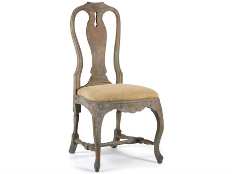 Zentique Tan / Distressed Brown Blue Side Dining Chair