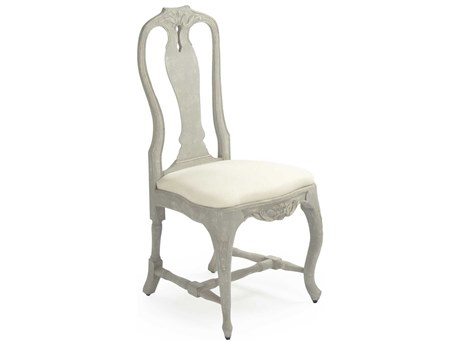 Zentique Distressed Grey Blue / Off-White Side Dining Chair
