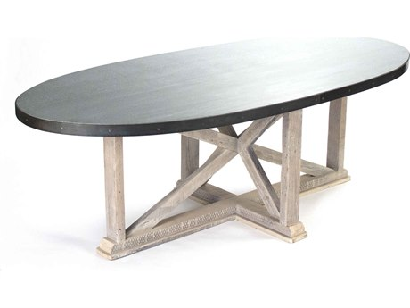 Zentique Galvanized steel with acid wash zinc finish 95'' Wide Oval Dining Table ZENZIC001L