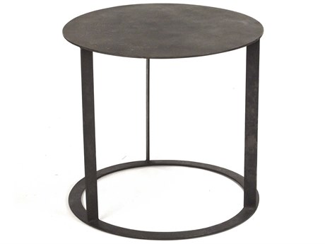 Zentique Distressed Black 23'' Wide Round End Table