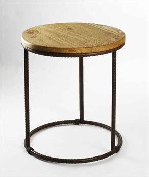 Zentique Stained Top / Distressed Black Steel 22'' Wide Round End Table ZENRURST1S