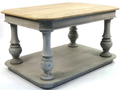 Zentique Natural Top / Distressed Grey Base 64'' Wide Rectangular Foyer Table ZENSH07091310