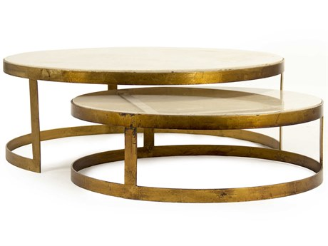 Zentique Gold Leaf / Cream Marble 31'' Wide Round Coffee Table Nesting ZENLIS1518141