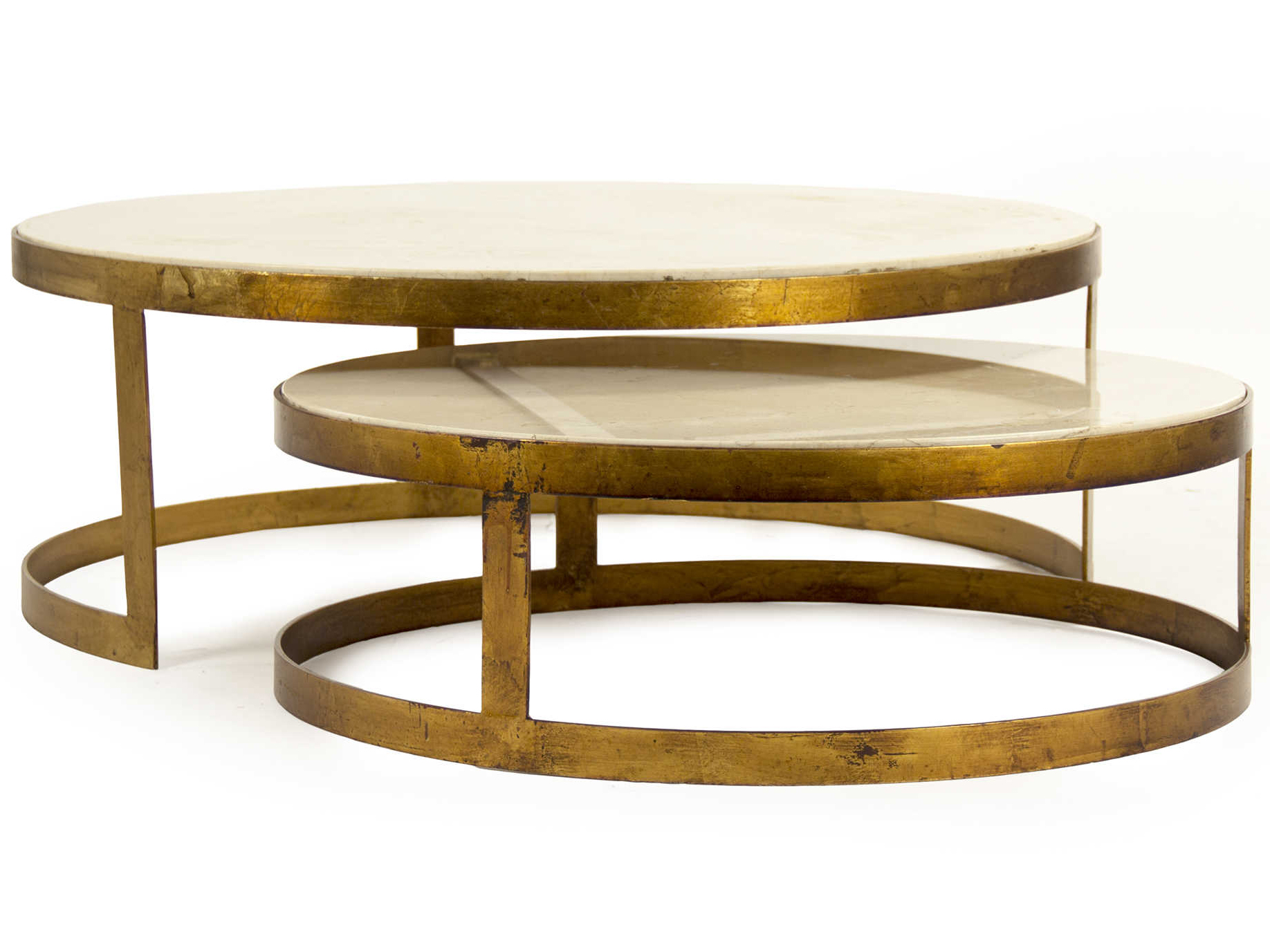 - Zentique Gold Leaf / Cream Marble 31'' Wide Round Coffee Table
