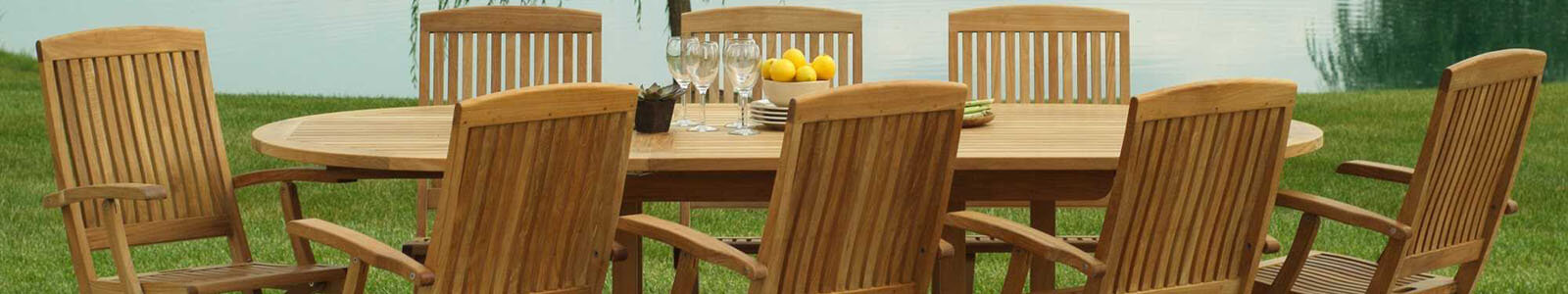 Three Birds Casual: Teak Outdoor Patio Furniture Banner